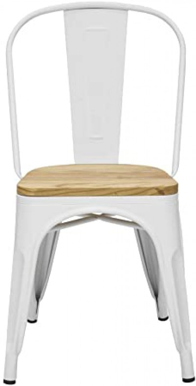 Silla industrial metálica Tolix mate Asiento Madera (Blanco)
