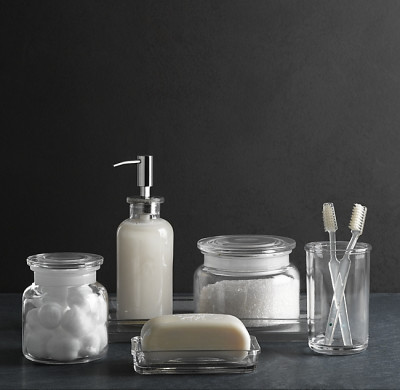 PHARMACY GLASS BATH ACCESSORIES